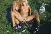 Hot Blond Lesbians Masturbating Outdoors