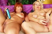 Blond Granny Claudie Fucks Karen with Dildo