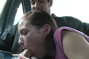 Hailey Young Sucks A Guy's Dick In A Car