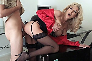 Blonde milf with appealing tits fucks her lucky employee here Lexi Carrington.