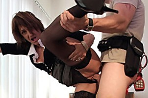 Divine milf nails her employee in this wild and crazy fuck Jillian.