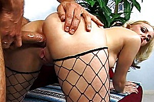 Blonde with meaty anus doggystyle make love.