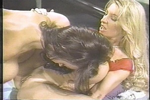 A blonde straps a dildo to her face to nail her girlfriend Summer Cummings, Skye Blue.