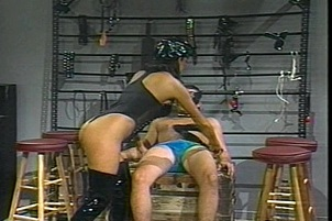 Kinky retro action with a masked male sub and his domme Kimberly Kummings.