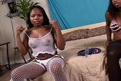 Two Gorgeous Black Lesbians with Sex Toy