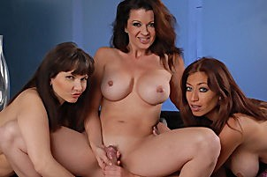 Three lascivious cougars share a young penish Raquel Devine, Carrie Ann, Lucky Benton.