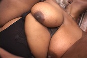 Horny Black BBW Takes On Two Guys