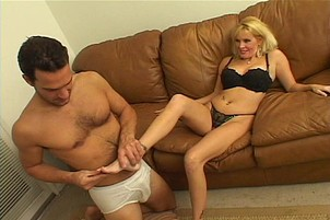Blond lexi fox strokes tool with feet Lexi Fox.