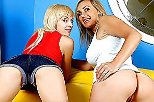 Pair of amazing blonds pounce on a cock Tanya Tate, Emma Rae, Emma Mae.