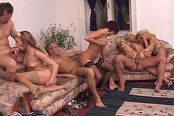 Three Nasty Sluts take on Two Hard Cocks For Cum