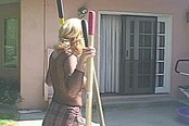Blonde Gets Double Penetrated By Lawn Tools