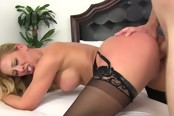 Gorgeous Blond Hottie In Fishnets Takes Cock