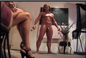 A sculpture turns into a sex man!