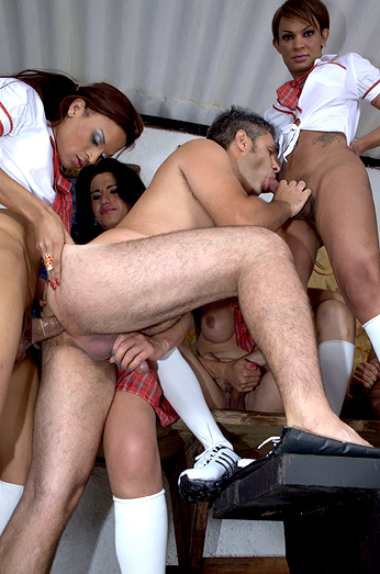 Tranny Schoolgirls Porn | Super Hot Shemale Schoolgirls Group-Fuck Teacher