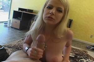 Anita Blue Uses Both Hands To Work On A Cock