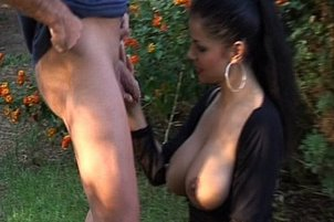 Busty Slut Gives Great Back Yard Handjob