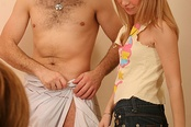 Two Fully Clothed Girls Give A Guy Head