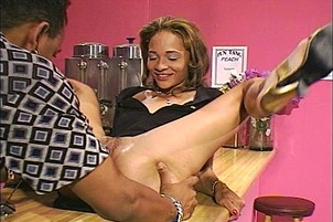 Mya sucks cock even better than she mixes drinks
