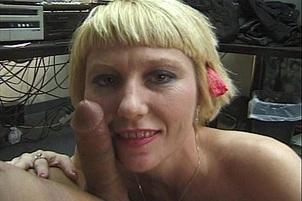 Short Haired Blonde Sucks Cock