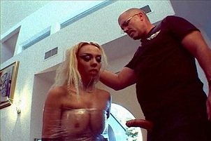 Cling Wrapped Cutie Gets Dick Slapped