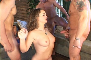 Brunette Caught In Triple Dick Gang Bang