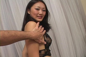 Asian Gets On Her Knees To Suck Cock