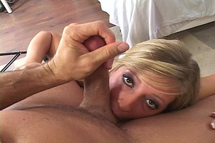 Southern Blonde Squats And Sucks Cock