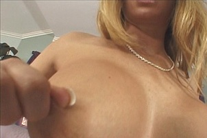 Busty Babe Laps Cum Off A Plate