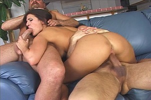 Slutty girl takes two guys and fuck them