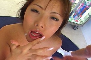 Sweetheart Asian Opens Her Mouth For Two Dicks