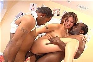 Horny Minx Double Penetrated By Blacks