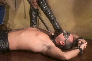 Fucking Her Leather Bound Sex Slave