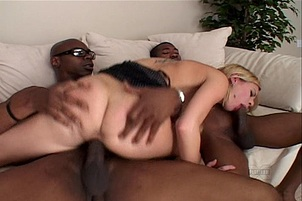 Hot Blond Chick Takes On Two Black Dicks