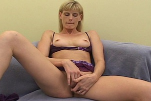 Pale Blonde MILF Fucks And Squirts