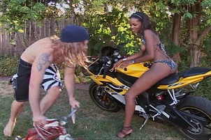Nubile Black Slut Banged Over Motorcycle