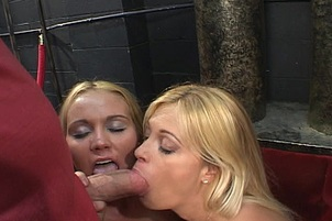 Two Blondes Suck And Fuck A Big Cock