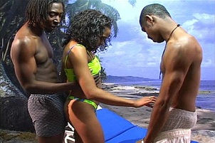 Ebony Babe Takes Two Dicks In Both Holes