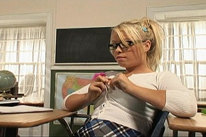 Nerdy Blond Sucks The Professor's Cock
