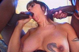 Angela D'Angelo Sucks Two Black Cocks