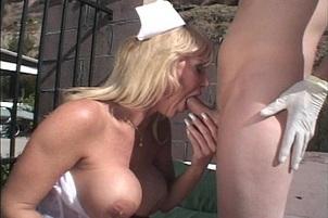 Naughty Nurse Fucks at Pool Side