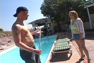 Stacked Wife Bounces On Pool Boy's Shaft