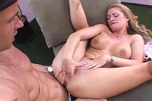 Stud Watches His Busty Girl Masturbating