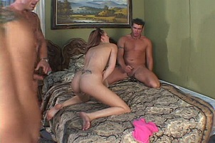 Shaved Pussy Babe Takes Three Dicks