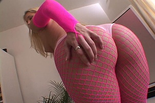 Pink Nylons and Gloves get this Slut Fucked Hard