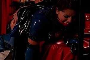 Blue Haired Mistress Gets Latex Slaves