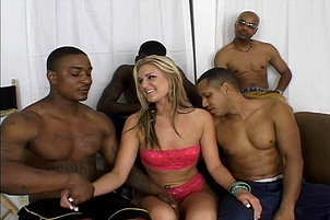 Slim Blonde Slut Fucks Four Black Guys
