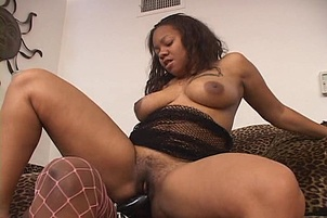 Beauty Fucks Persuajon With Black Dildo