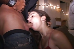 Slutty Jackie Sucks In Public Threesome