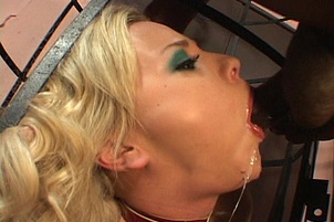 Blonde Fetish Whore Fucks Big Ebony Cock