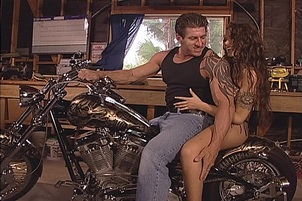 Biker Fucks Brunette Slut On Motorcycle